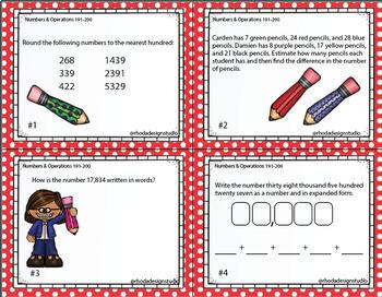 NWEA MAP Prep Math Practice Task Cards Operations Algebraic RIT Band 191-200