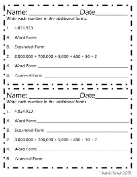 Numbers and Operations Practice and Review