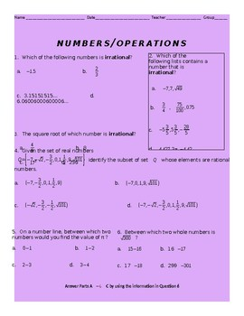 Numbers and Operations Review