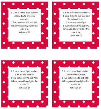 Numbers and Operations Standards 8 & 9 Common Core 2nd Grade Math Who am I Task