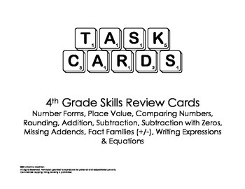 Numbers and Operations Task Cards Grade 4