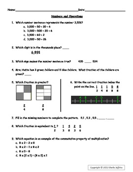 Numbers and Operations Test Prep Sheet for Grades 3 and 4