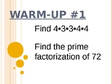 Numbers and Operations Warm-ups