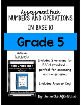 Numbers and Operations in Base 10 Assessments {Perfect to Pair with INBs}