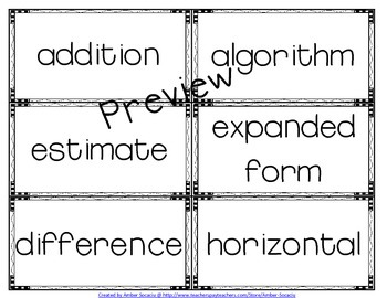Numbers and Operations in Base Ten Academic Vocabulary Package for 3rd Grade