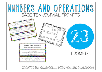 Common Core Math- Numbers and Operations in Base Ten Journal Prompts
