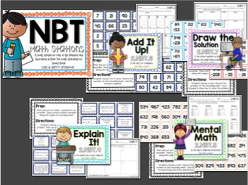Numbers and Operations in Base Ten Math Stations for Second Grade