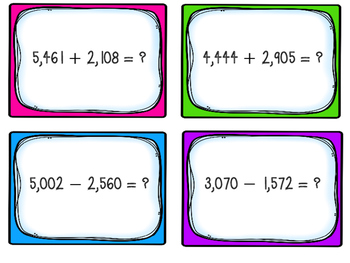 Number and Operations Base Ten Task Cards-Perfect for Math Workshop & Centers
