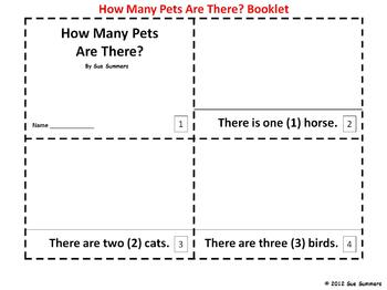 Numbers and Pets 2 Emergent Reader Booklets - How many are there?