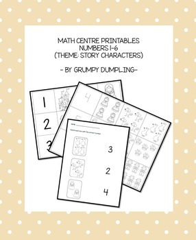 Numbers and Quantities (1-6) - A Game and a Worksheet with Story Characters