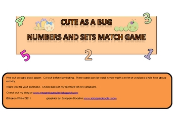 Numbers and Sets Match Game