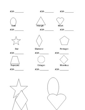 Numbers and Shape assessment Printable