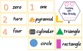 Numbers and Shapes Word Wall Cards