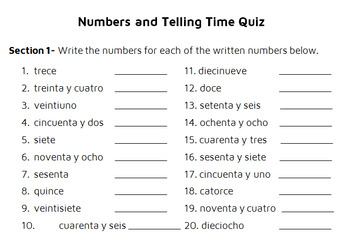 Numbers and Telling Time Quiz for Spanish class