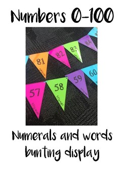 Numbers and Words 0-100 Bunting Display