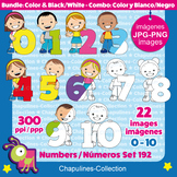 Numbers and kids Clipart Bundle, from 0 to 10, color and b