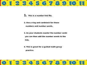 Numbers and number words flip cards