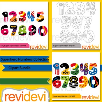 Numbers clipart: Superhero numbers collection clip art bundle (3 packs)