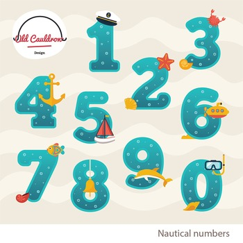 Numbers clipart, classroom decor, vector graphics CL033