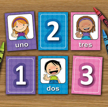 Numbers flashcards - Spanish - Matching Cards - DIY Memory Game - Printable PDF