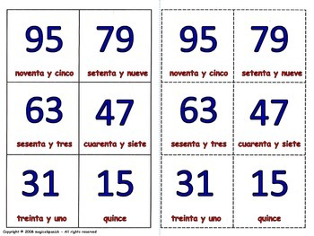 Numbers from 0 to 95 in Spanish  Lottery (Board Game)