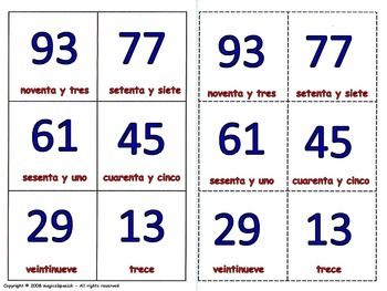 Numbers from 0 to 95 in Spanish. Lottery (Board Game).