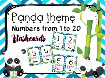 Numbers from 1 to 20 flashcards (Panda Theme)