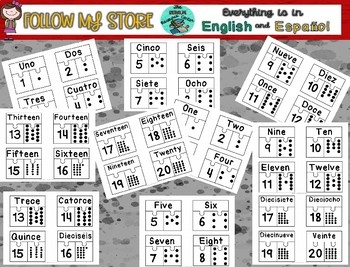 Numbers from 1 to 20 in English and Spanish