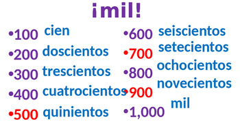 Numbers game 100 to 1,000 in Spanish