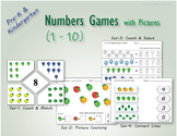 Numbers games for pre-k and kindergarten practice with pic