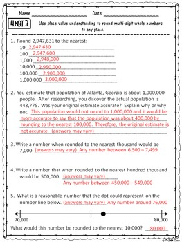 Numbers in Base Ten Assessments & Rubrics BUNDLED! {4.NBT.1 - 4.NBT.6}