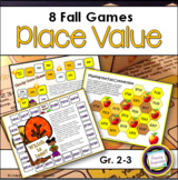 Fall Place Value Games for Second Grade and Third Grade
