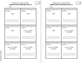Numbers in Base Ten Quick Checks (5th Grade Common Core Aligned Assessments)