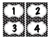 Numbers in Black & White Polka Dot Frame 1-30