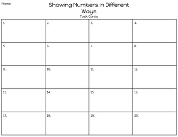 Numbers in Different Ways Task Cards (Volume 1)