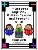 Numbers in English, Haitian Creole and French: 0-10 Poster Cards (Haiti) Set 1