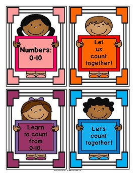 Numbers in English: 0-10 Poster Cards Set 1