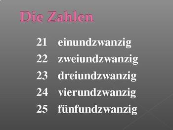 Numbers in German powerpoint
