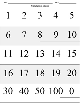 Numbers in Hausa with Fill in the Blank Sheet