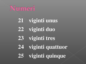 Numeros (Numbers in Latin) power point