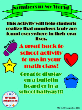 Numbers in My World - A Back to School Activity