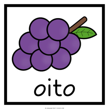 Numbers in Portuguese Fruit Printables