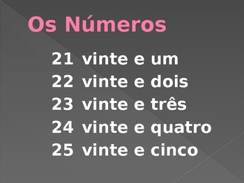 Números (Numbers in Portuguese) power point