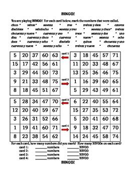 Números (Numbers in Spanish) Bingo worksheet