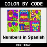 Numbers in Spanish - Color by Code / Coloring Pages - Birthday