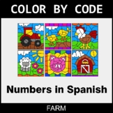 Numbers in Spanish - Color by Code / Coloring Pages - Farm