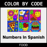 Numbers in Spanish - Color by Code / Coloring Pages - Food
