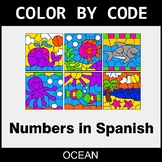 Numbers in Spanish - Color by Code / Coloring Pages - Ocean