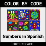 Numbers in Spanish - Color by Code / Coloring Pages - Outer Space