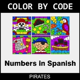 Numbers in Spanish - Color by Code / Coloring Pages - Pirates